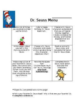 Dr. Seuss Activity Menu