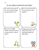 Dr. Seuss Addition and Subtraction Double Digit Word Problems