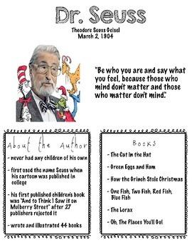 Dr. Seuss Author Study FREEBIE