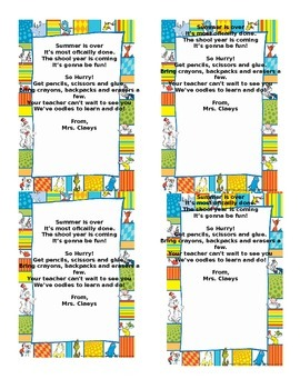 Dr. Seuss Back to School Poem From teacher gift FREE