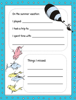 Dr Seuss - Back to school activity