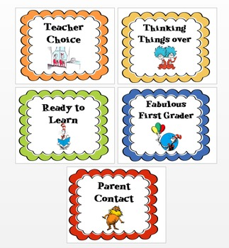 Dr. Seuss Behavior Chart-- First Grade