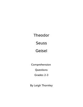 Dr. Seuss Biography Comprehension Questions