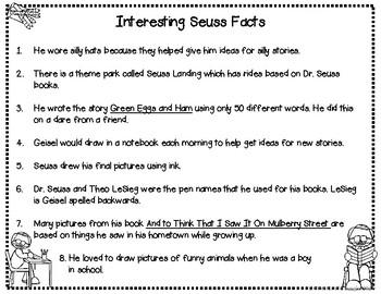 Dr. Seuss Biography Packet