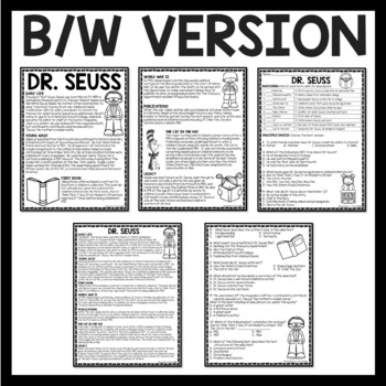 Dr. Seuss Biography, Reading Comprehension Worksheet, March, Authors, Homework