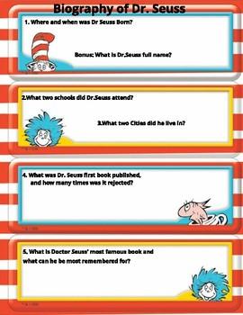 Dr. Seuss Biography, reading comprehension