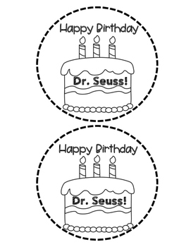 Dr. Seuss Birthday Badge with Writing Pages