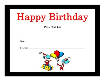 Dr. Seuss Birthday Certificates (Includes 12 Certificates)
