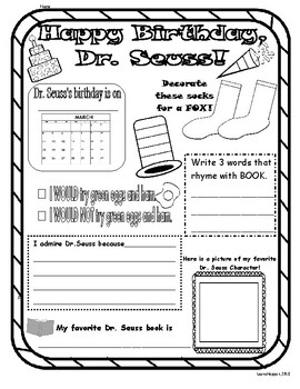 Dr. Seuss Birthday Poster/ Journal Page