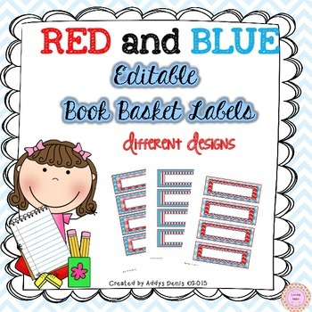 Book Basket Labels EDITABLE (Red and Blue)