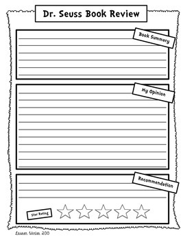 Dr. Seuss Book Review and Opinion Writing Freebie