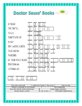 Dr. Seuss Books  & Characters-Read Across America- Word Search & Double Puzzle