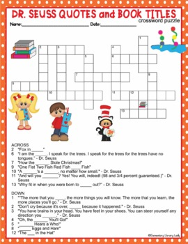 Dr. Seuss Activities Quotes Read Across America Crossword Puzzle Word Search