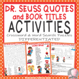 Dr. Seuss Activities Quotes Read Across America Crossword Puzzle Word Searches