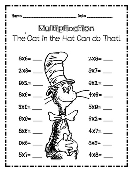 Dr. Seuss Cat in the Hat Multiplication