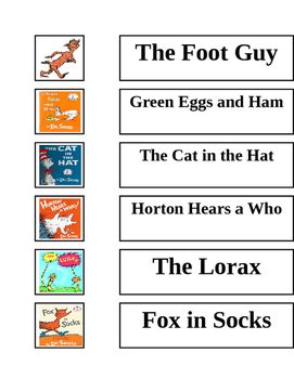 Dr. Seuss Character Word Wall