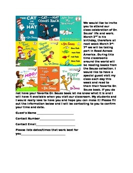Dr. Seuss Class Celebration Invitation