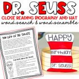 Dr. Seuss Close Reading Biography Happy Birthday Dr. Seuss