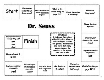 """Dr. Seuss"" Comprehension Game Board- Journeys story 1st grade"