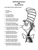 Dr. Seuss Day 2nd Grade Correct Sentence Activity.