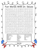 Dr. Seuss Day Characters Word Search