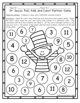 Dr. Seuss Day FREEBIE Roll, Add, and Color Partner Game