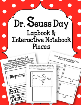 Dr. Seuss Day Lapbook and Interactive Notebook Pieces. Boo
