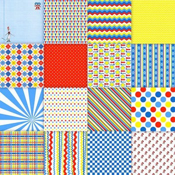 Colorful Digital Papers - Red, Blue and Yellow - 8.5x11 and 12x12 Sizes