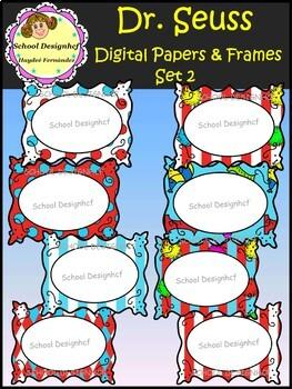Dr. Seuss -  Digital Papers and Frames / Set2 (School Designhcf)