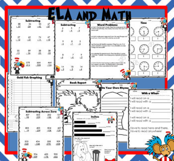 Dr. Seuss Week ELA and Math 45 Pages- Back to School