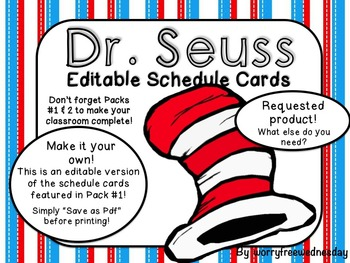 Dr. Seuss Inspired Editable Schedule Cards