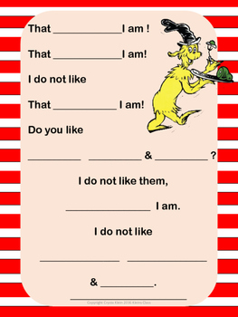 Read Across America-  Fill in the Blanks