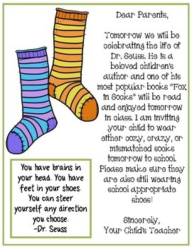 "Dr. Seuss ""Fox in Socks"" Parent Letter"
