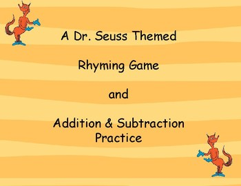 Dr. Seuss/Fox in Socks Themed Rhyming Word and Addition & Subtraction Games