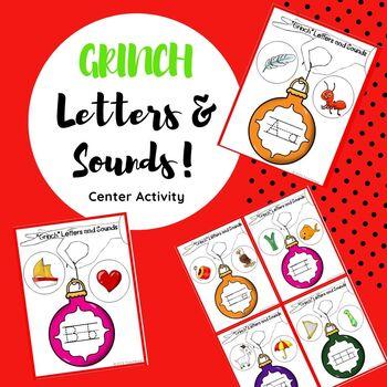 """Dr. Seuss """"GRINCH"""" Letters & Sounds Center Activity"""