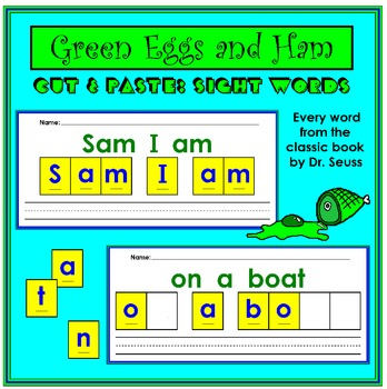 Dr Seuss Green Eggs And Ham Cut Paste Sight Words