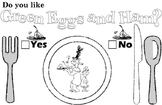 Dr. Seuss Green Eggs and Ham Placemat, Worksheet, and Head
