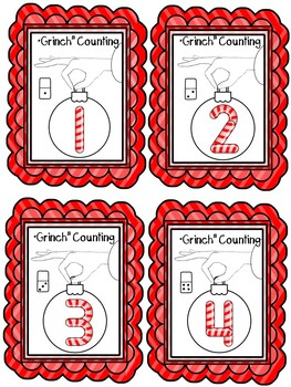 """Dr. Seuss """"Grinch"""" Counting Center Activity"""