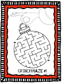 "Dr. Seuss ""Grinch"" Mazes Center Activity"