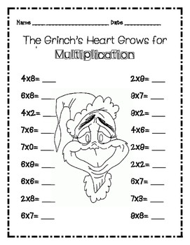 Dr Seuss Grinch Multiplication By Lucci Luc S Whimsical