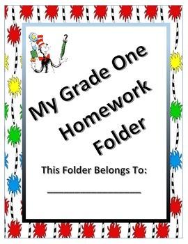 Homework folder cover (Seuss inspired)