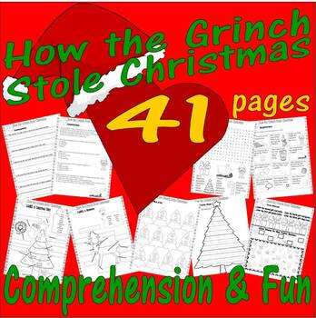 Dr Seuss How the Grinch Stole Christmas Comprehension Activity Packet 22pg