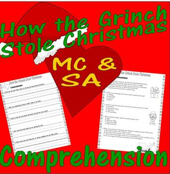 Dr Seuss How the Grinch Stole Christmas : Comprehension : Multiple Choice