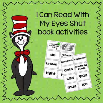 "Dr Seuss' ""I Can Read With My Eyes Shut"" Book Activities"