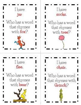 "Dr.  Seuss ""I have... Who has...?"" Rhyming Game FREEBIE"