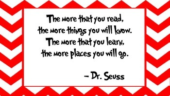 Dr. Seuss Inspirational Quotes Red Chevron