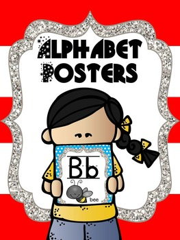 Alphabet Posters Picture Cards - Red, blue, and white theme