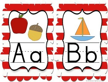 Alphabet Wall Banner Strip ~ Red and White Stripes