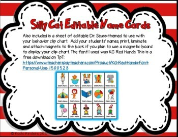 Dr. Seuss Inspired Behavior Clip Chart and Calendars Bundle (editable)