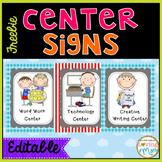 HUGE FREEBIE Center Signs {EDITABLE}
